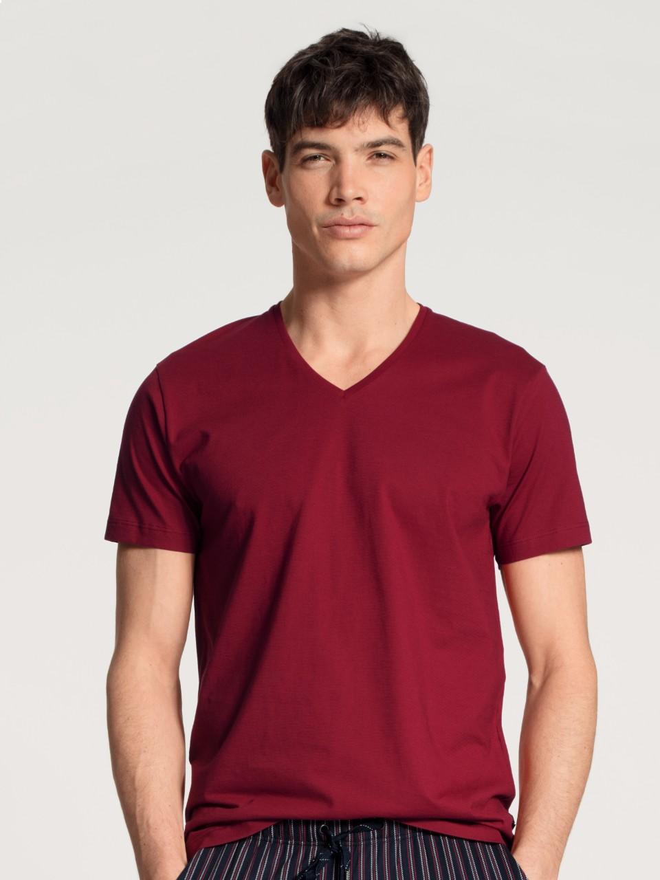 14281 159 tee-shirt bordeaux col V 100% coton jersey Prix : 34.95 €