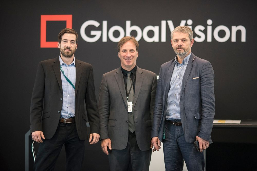 Norman Lindner (Account Manager TeBeS), Reuben Malz (CEO Global Vision) and Tomasz Szymkowiak (CEO DSL) auf der Label Expo 2018- von links