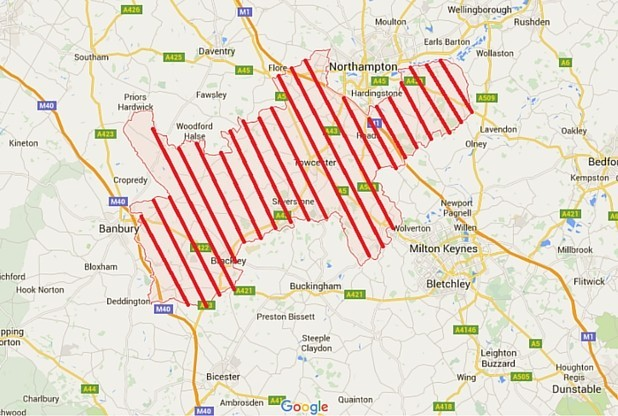 The South Northants Council area, courtesy of The Northampton News
