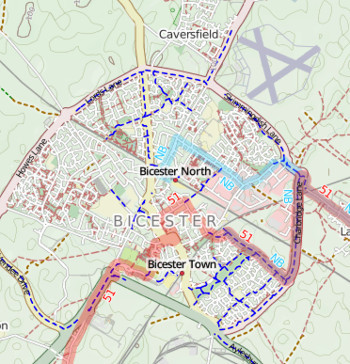 CycleStreets.net map of dedicated cycle paths in Bicester.