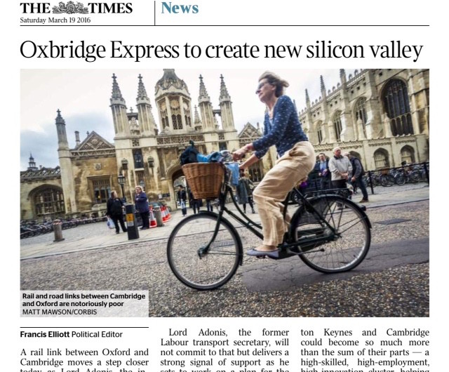 The Times reporting on the potential that a rail link between Oxford and Cambridge will bring town's in particular like Bicester