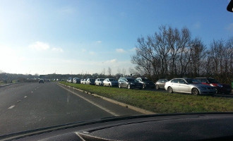 Part of a 7 mile traffic jam to get to Bicester Village.