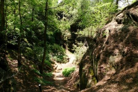 Westseitiger Auf-/Abstieg auf dem Malerweg am Gohrisch im Elbsandsteingebirge