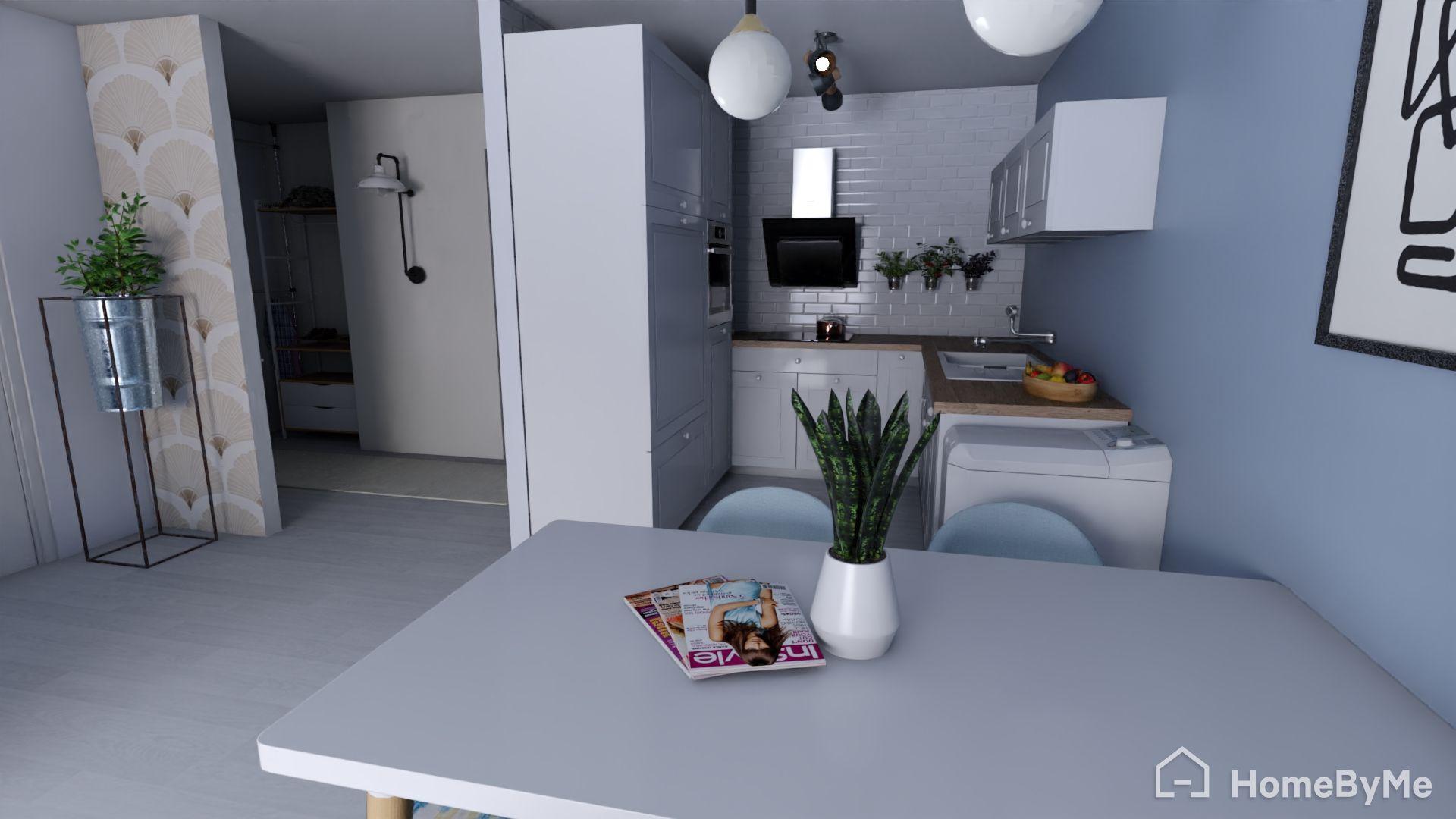 Blick auf die Küche und den Eingangsbereich