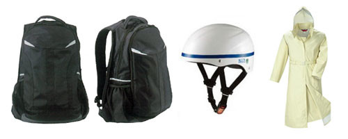 自転車通学をより安全に。ヘルメット・雨具・通学鞄の提案も致します。