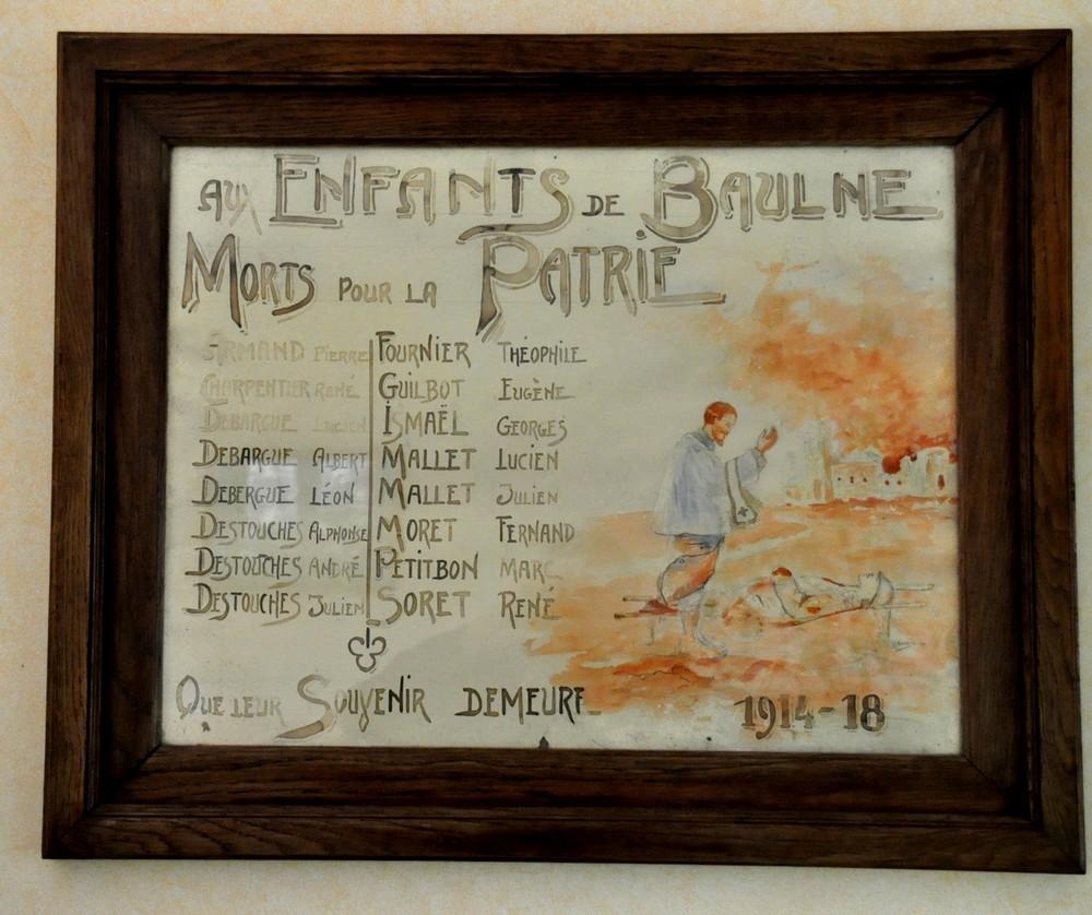 Tableau à la mémoire des morts 1914-1918 (mairie de Baulne)