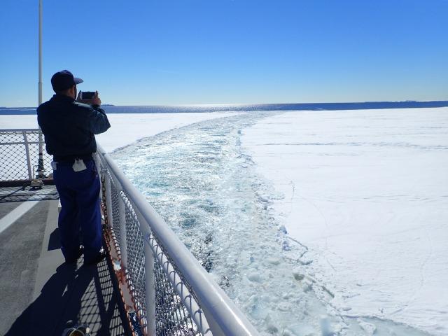 定着氷に入り500mほどのところで停船中のしらせ。海氷の上でペンギンが遊んでいる。船は珍しいので見に来るのだそうだ。