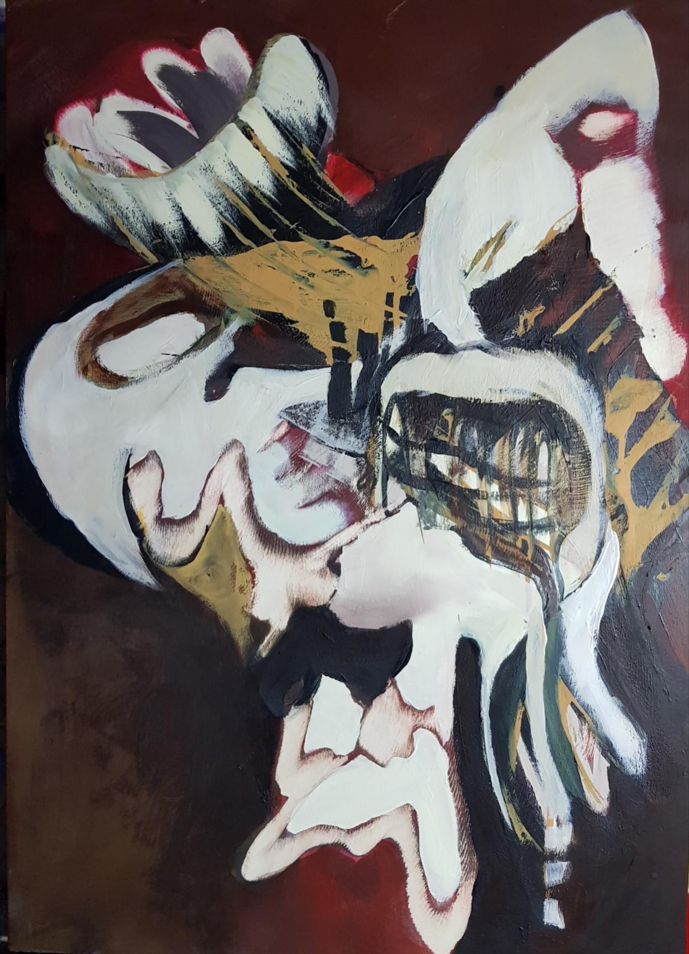 o.T., 2016, Acryl auf Holz - Winkelschleifer, 60 x 50 cm