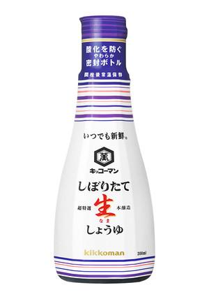 """Sauce soja non pasteurisée """" Kikkoman """" 200ml, しぼりたて 生醤油 キッコーマン"""