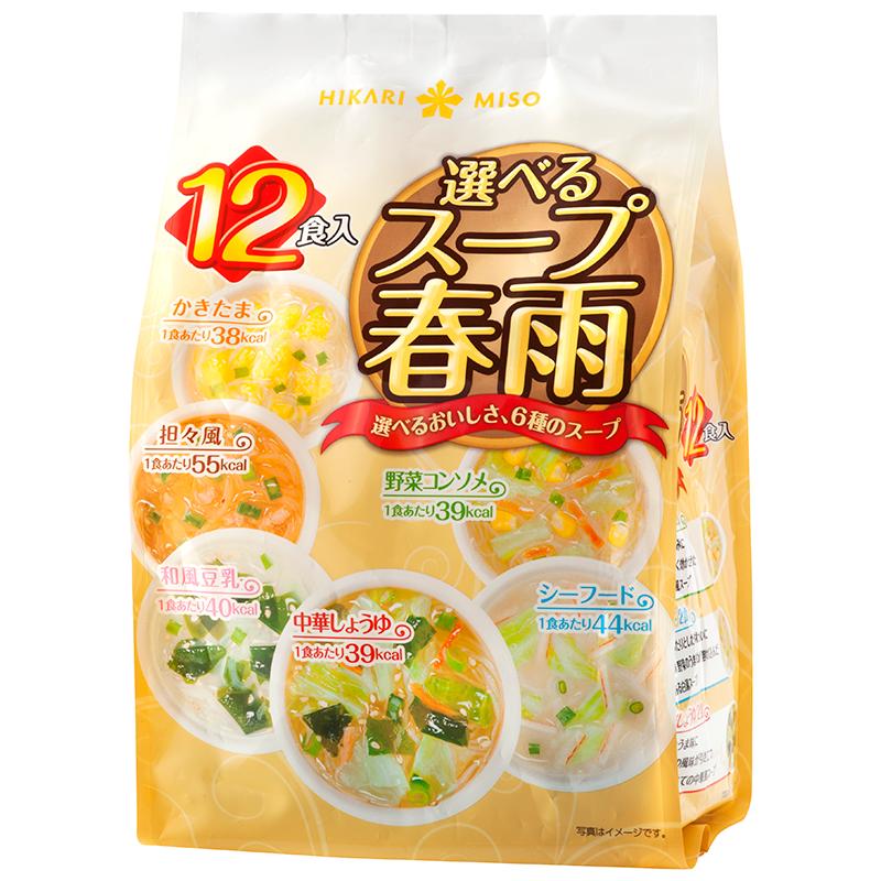 """Assortiment de soupe instantanée 12portions """" HIKARI """", 選べるスープ春雨 ひかり"""