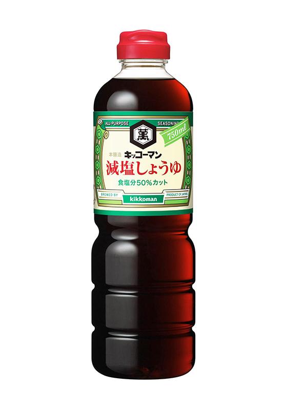 """Sauce soja 50% réduite en sel """" Kikkoman """" 1L, 減塩醤油 キッコーマン"""