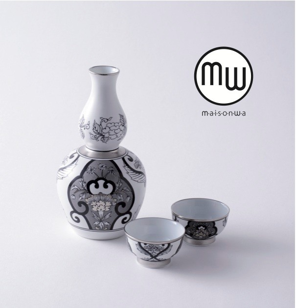 Arita Porcelain Lab Sake bottle and cups