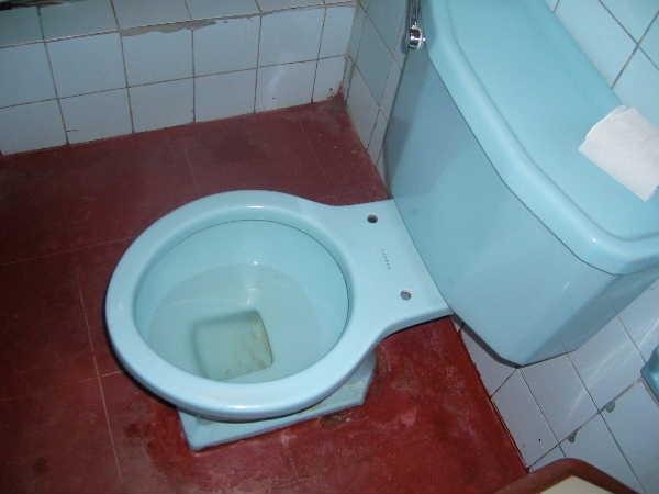 ピウラの安宿のトイレ。宿代をケチると、こういうトイレを共同で使う事になります。え?お気づきになりませんか。「便座」が無い事に。どうやって使うかは、ご想像に・・・「南米旅行総集編 後半」に続く・・・