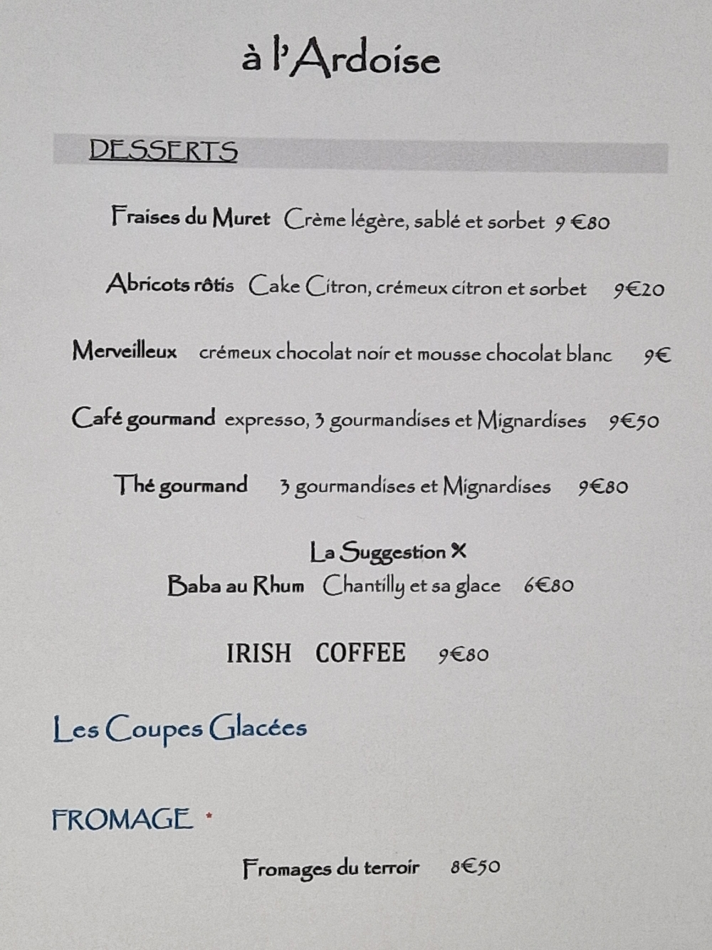 Carte des Desserts