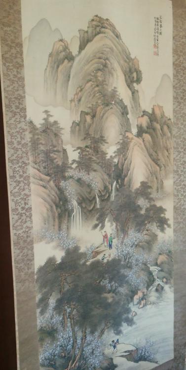 林家所蔵、古川秋蓬「三谷春之図」(写真は石村良子代表)