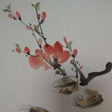 南画教室 今月は桃とハマグリ