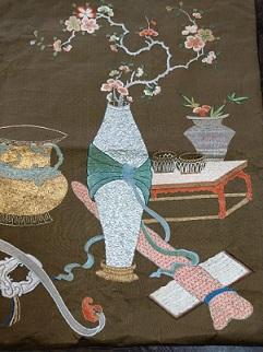 清時代文人な柄の中国刺繍、     名もなき名人作
