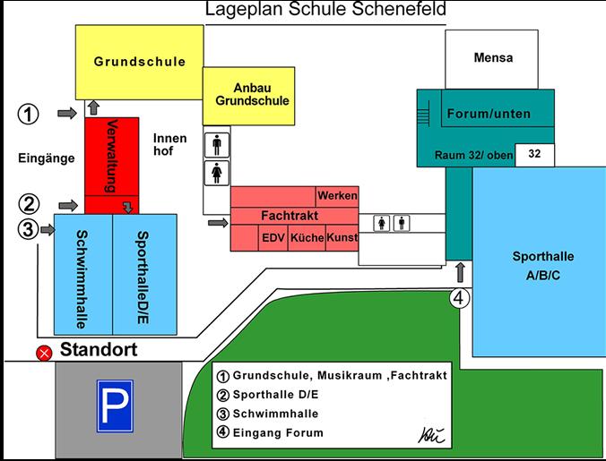 Lageplan der Schule