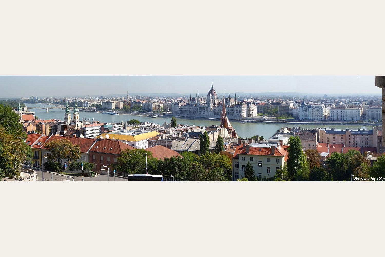 Donau mit St. Anna Kirche, Calvinistenkirche, Parlament