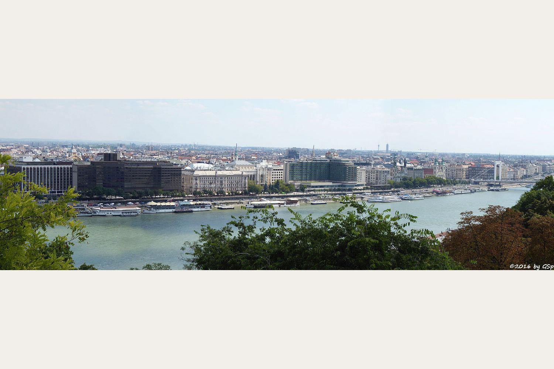 Pest, Donau, rechts Elisabethbrücke