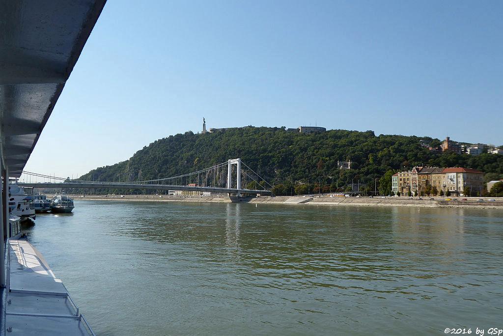 Elisabethbrücke, Gellértberg mit Freiheitsstatue, Zitadelle und Gellért-Denkmal