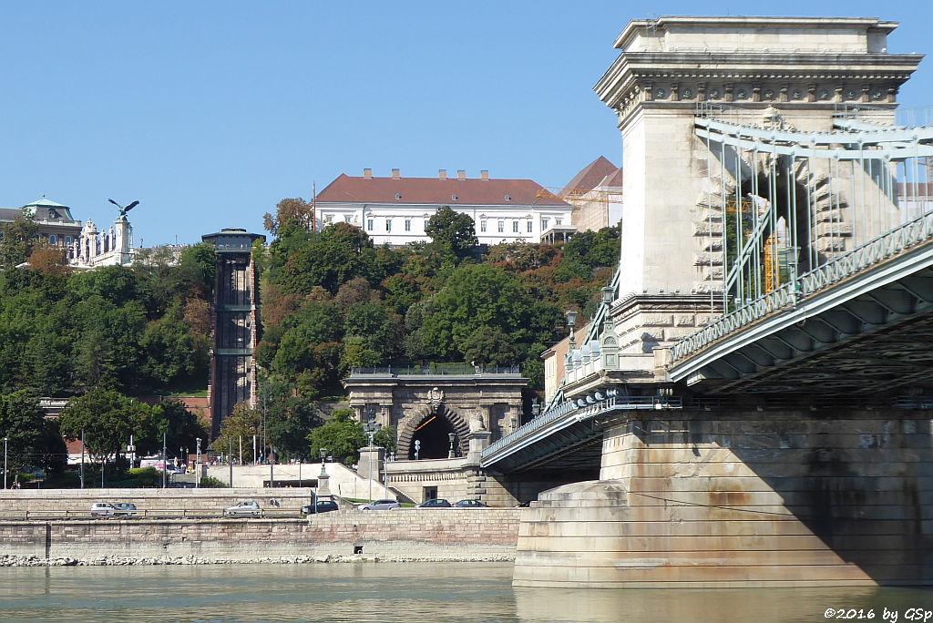 Turul Vogel am Nordtor des Budaer Burgpalastes, Standseilbahn auf den Burgberg, Kettenbrücke
