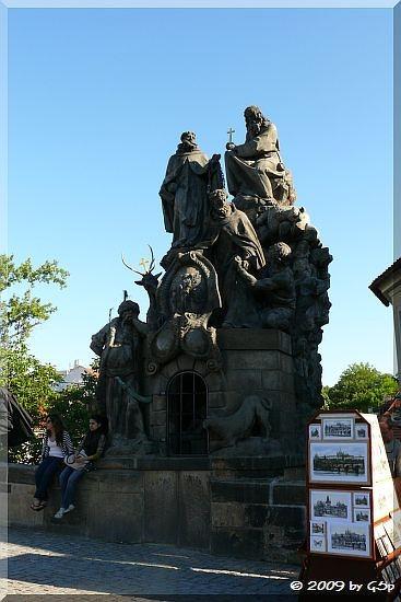Statue der Heiligen Johannes von Matha, Felix von Valois und Iwan (mit der Hirschkuh) sowie ein die Christen bewachender Türke