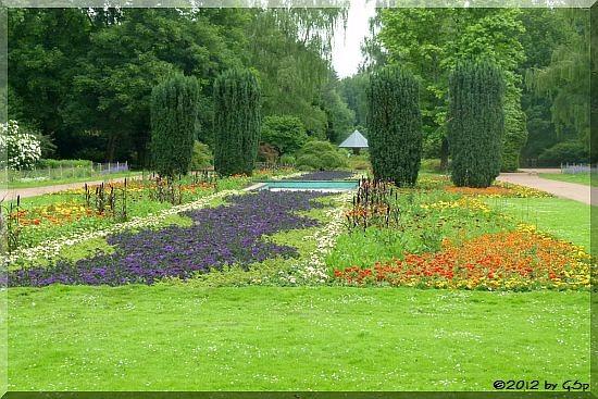 Blumenparterre und Pilz