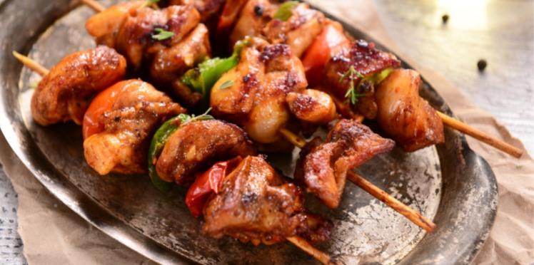 Brochettes de porc marinées   - Recette le cochon de falaise