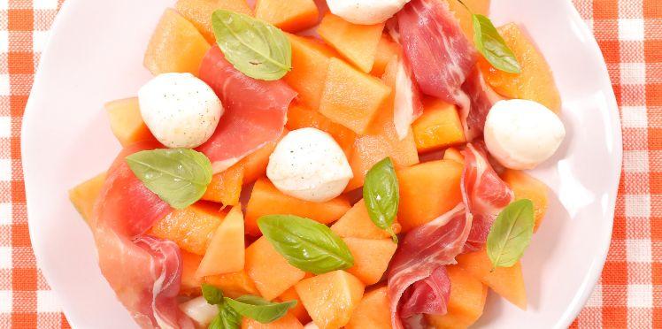 Salade melon, feta, jambon - Recette le cochon de falaise