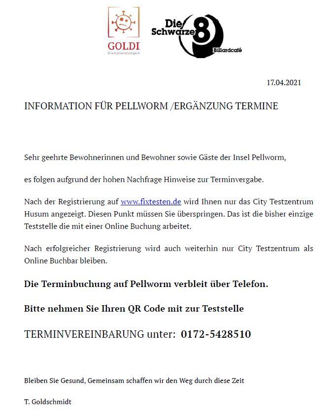 Mobile Teststation auf Pellworm - Hinweise zur Terminvergabe