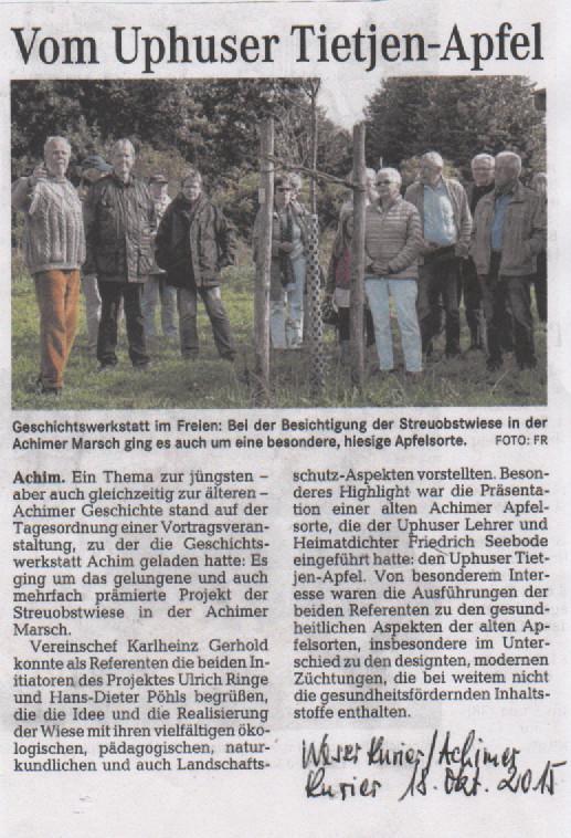 Von Uphuser Tietjen-Apfel - Besichtigung der Streuobstweise in der Achimer Marsch durch die Geschichtswerkstatt