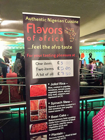 flavors of africa vegan menu