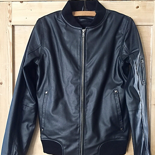 james & co vegan leather bomber jacket