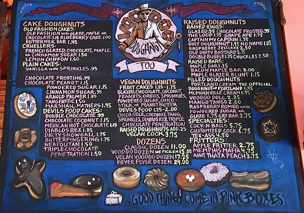 voodoo dougnut menu