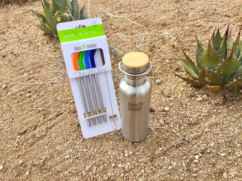klean kanteen stainless steel water bottle and straws