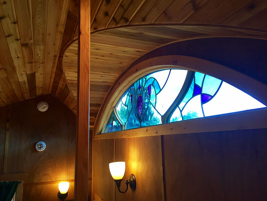 pacifica tiny house stained glass window caravan tiny house hotel