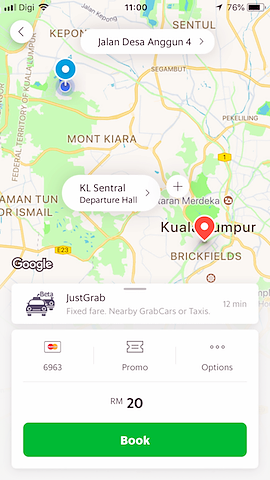 book a ride with grab app