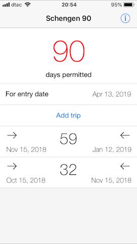 plan your travel time schengen 90 app