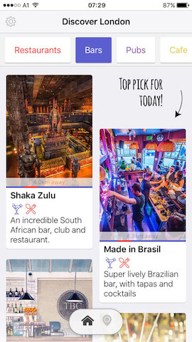 discover bars in london with hollabox app