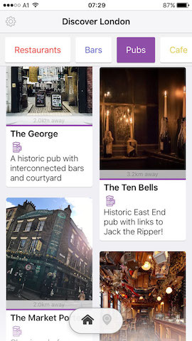 discover pubs in london with hollabox app