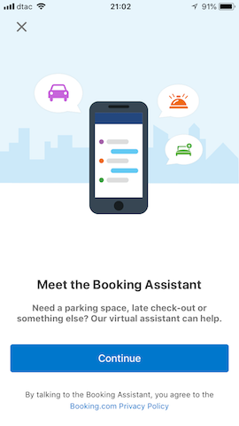 booking assistant booking.com app