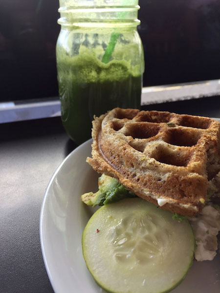 jalapeno waffle sandwich and green juice nectar cafe portland oregon