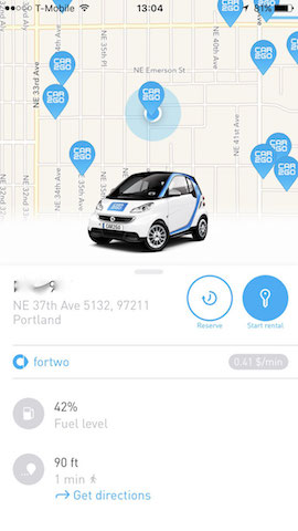 car2go car rental app