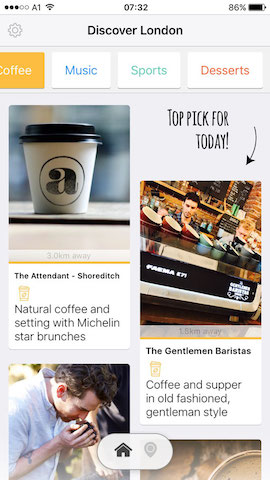 discover coffee shops in london with hollabox app