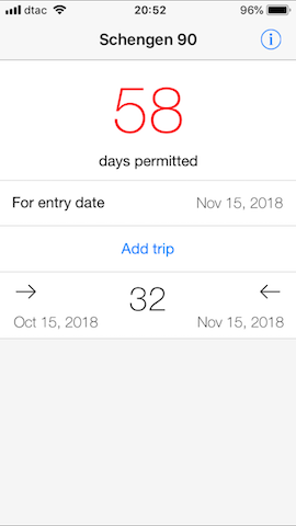 schengen 90 app calculates remaining days