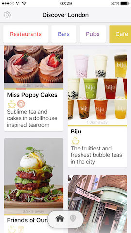 discover cafes in london with hollabox app