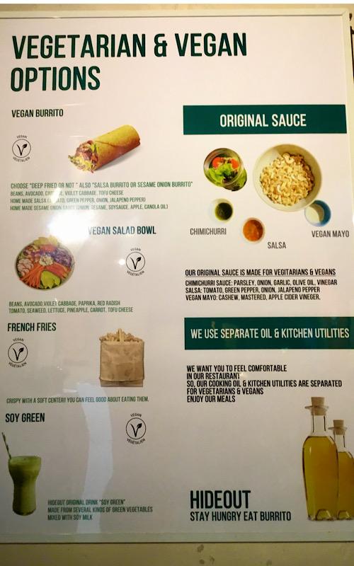 Hideout burrito menu