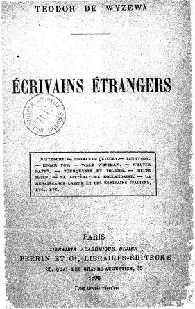 Ecrivains étrangers 1896
