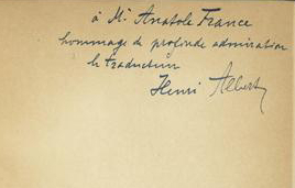 Henri Albert a envoyé un exemplaire des deux volumes à Anatole France